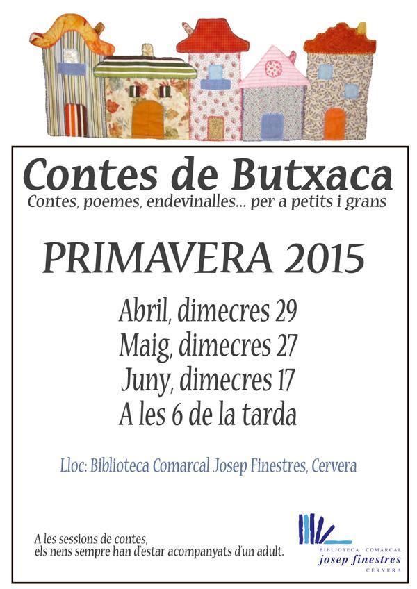 cartell 'Contes de butxaca' Contes, poemes, endevinalles... per a petits i grans
