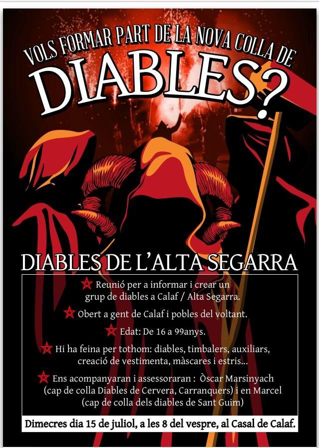 cartell Reunió informativa per a crear una colla de Diables de l'Alta Segarra