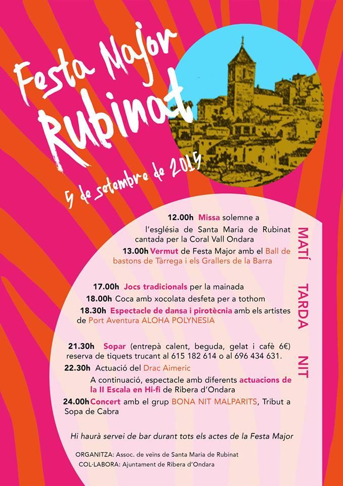 cartell Festa Major de Rubinat 2015