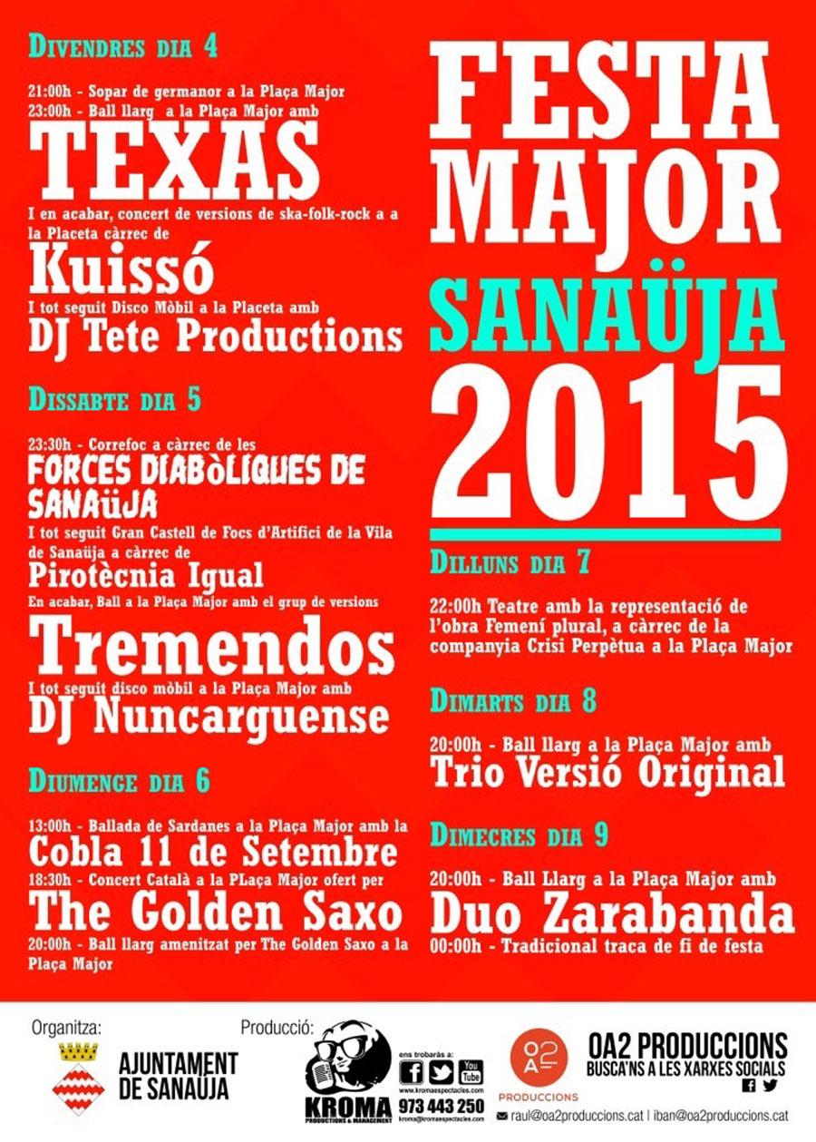 cartell Festa Major de Sanaüja 2015