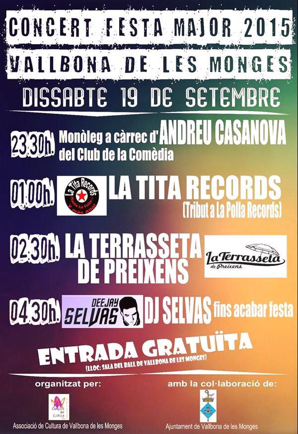 cartell Festa Major de Vallbona de les Monges 2015