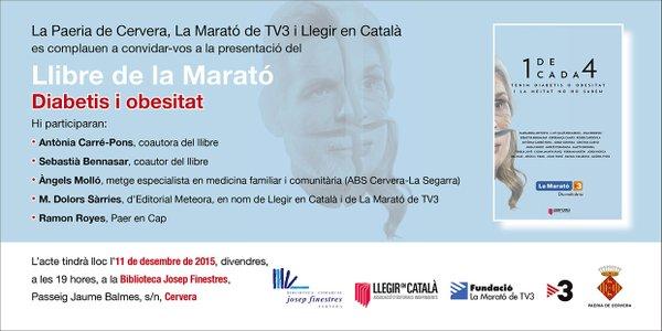 cartell Presentació del llibre de La Marató 2015