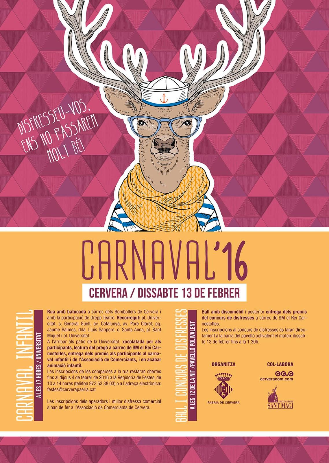 cartell Carnaval de Cervera 2016