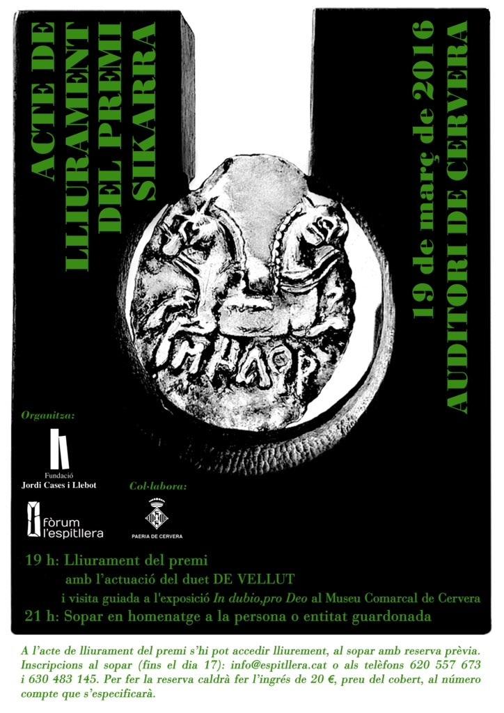 cartell lliurament del V Premi Sikarra