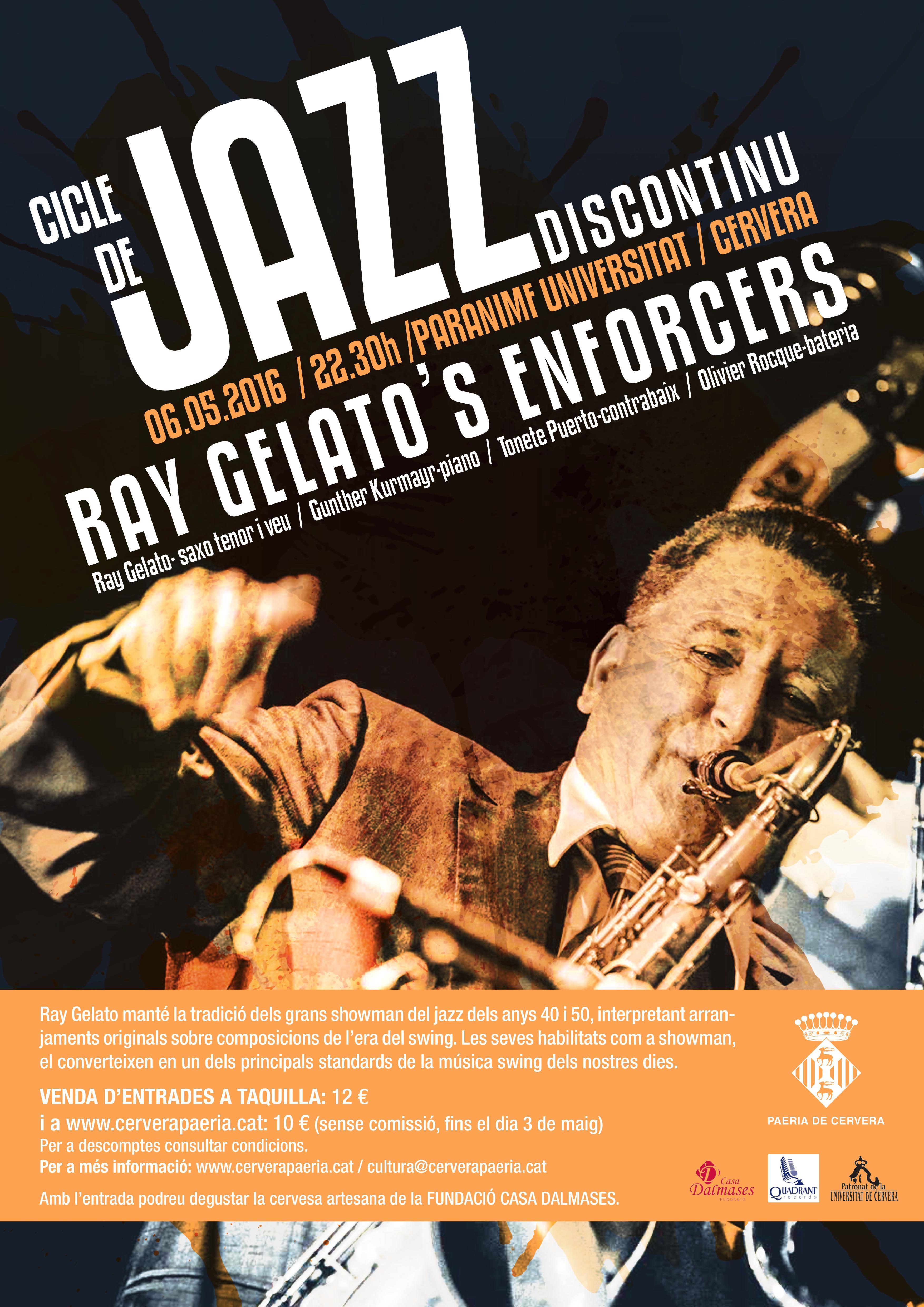 cartell Concert de Jazz Ray Gelato's Enforcers