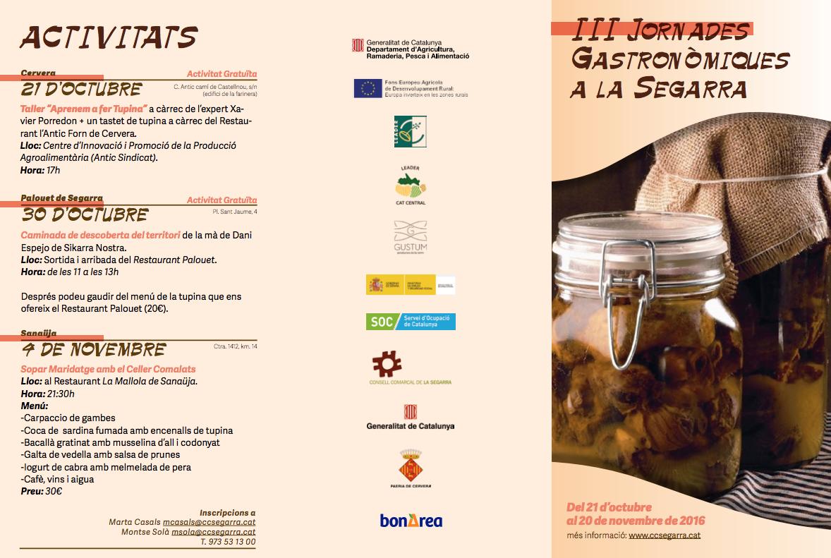 cartell III Jornades Gastronòmiques a la Segarra