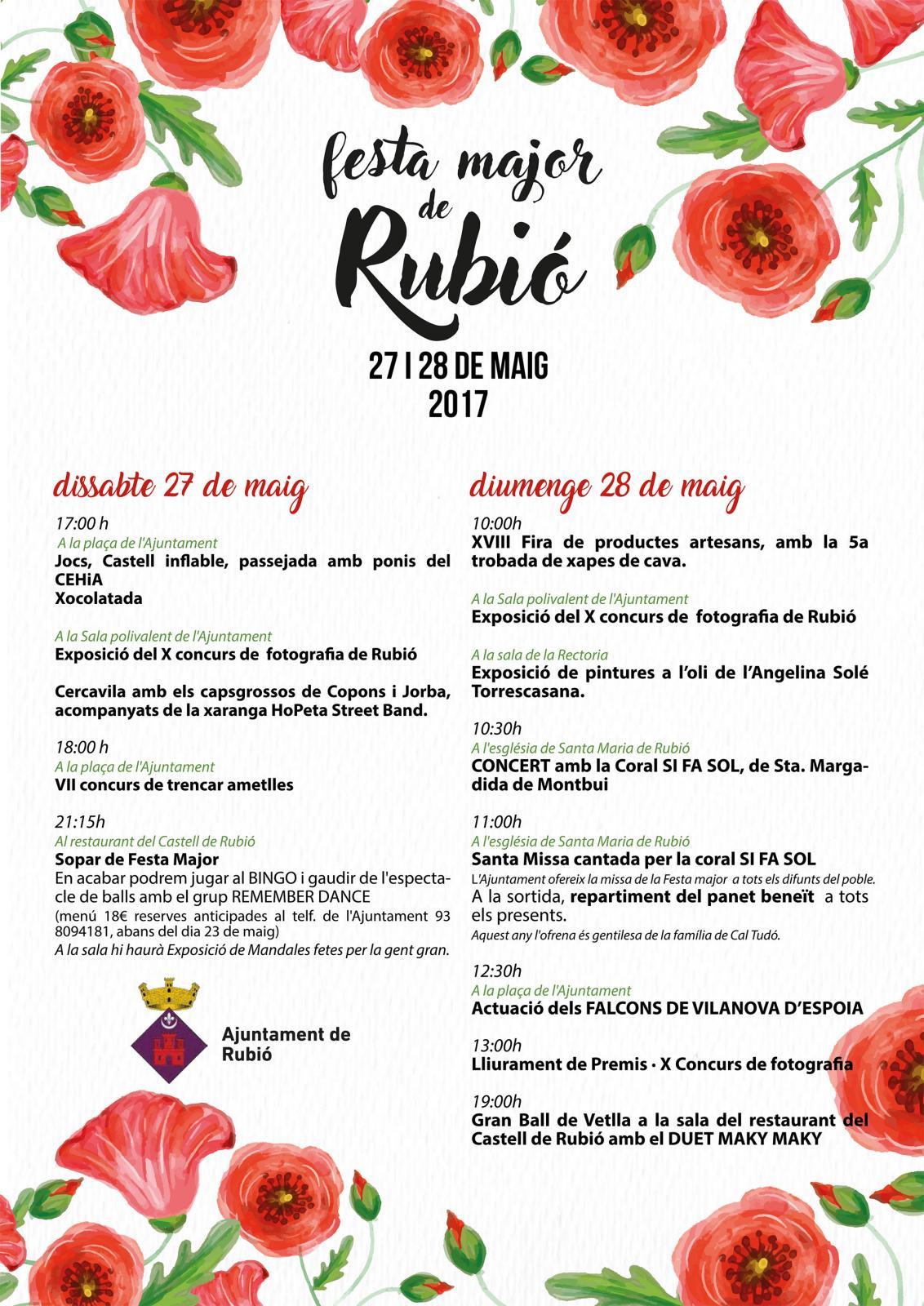cartell Festa Major Rubió 2017