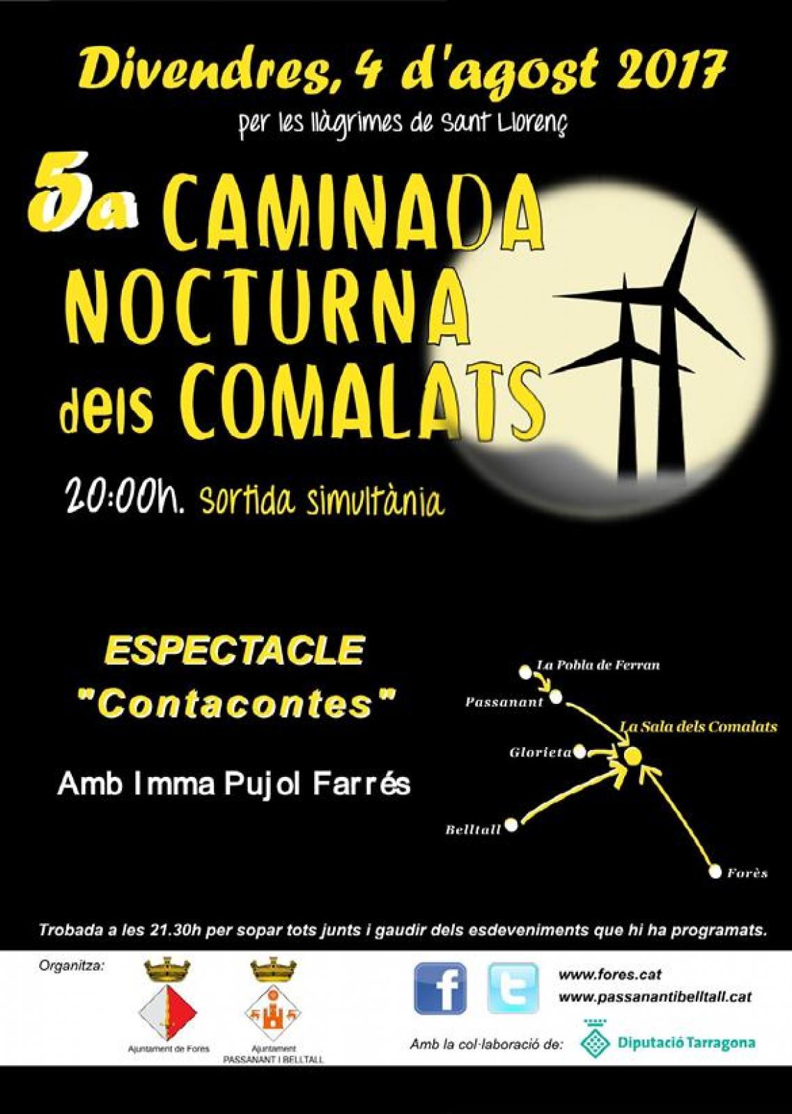 cartell 5a Caminada Nocturna dels Comalats