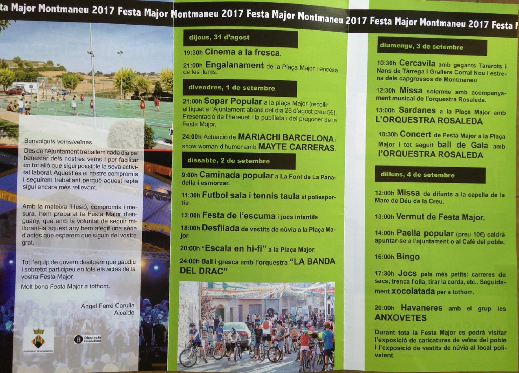 cartell Festa Major de Montmaneu 2017