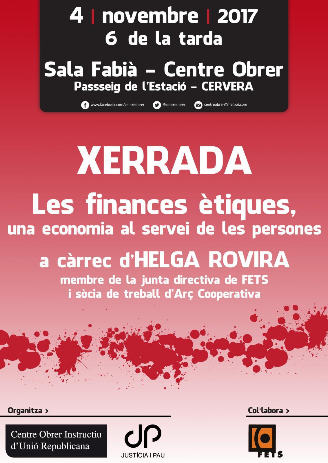 cartell Les finances ètiques, una economia al servei de les persones