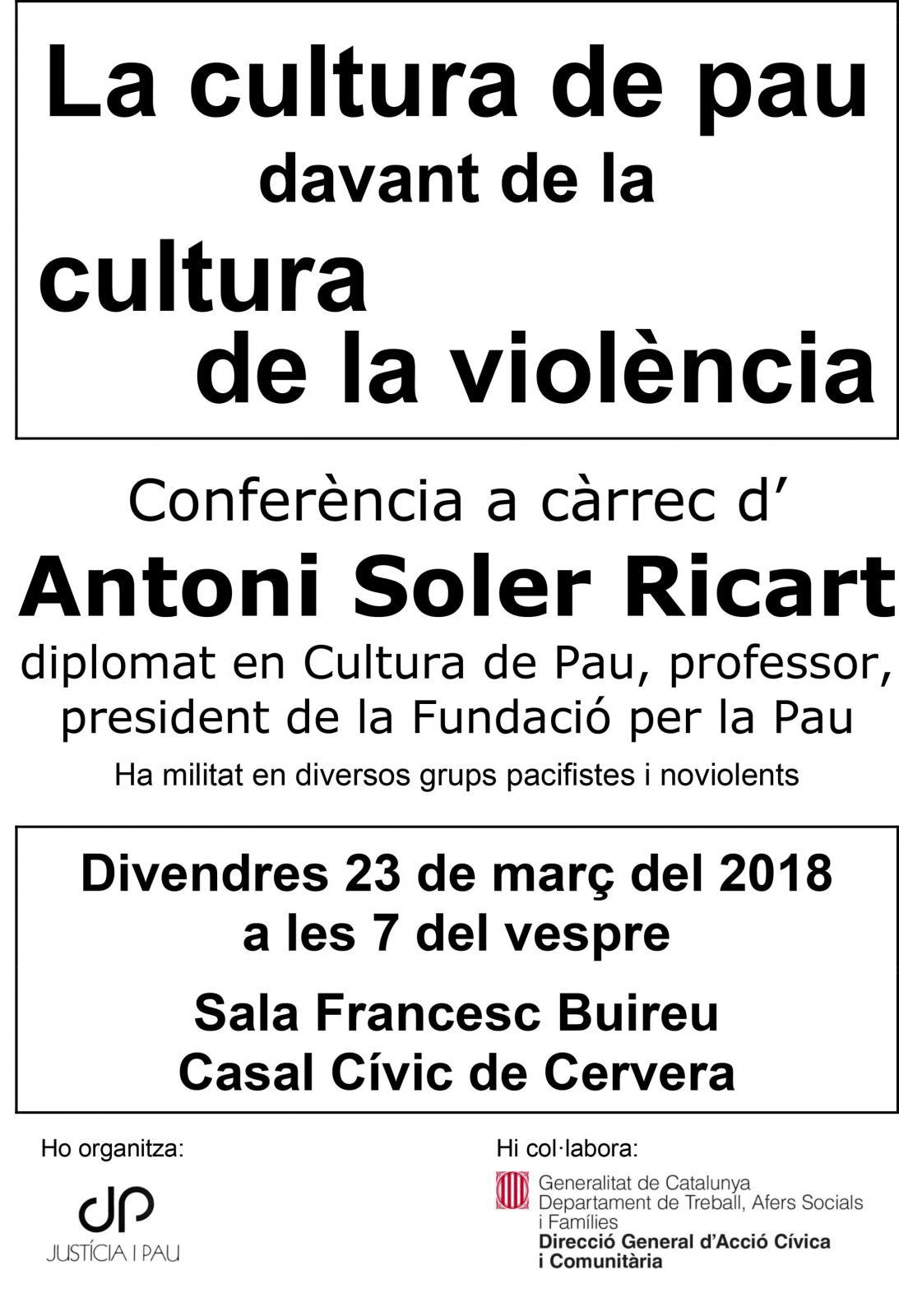 Conferència La cultura de pau davant de la cultura de la violència