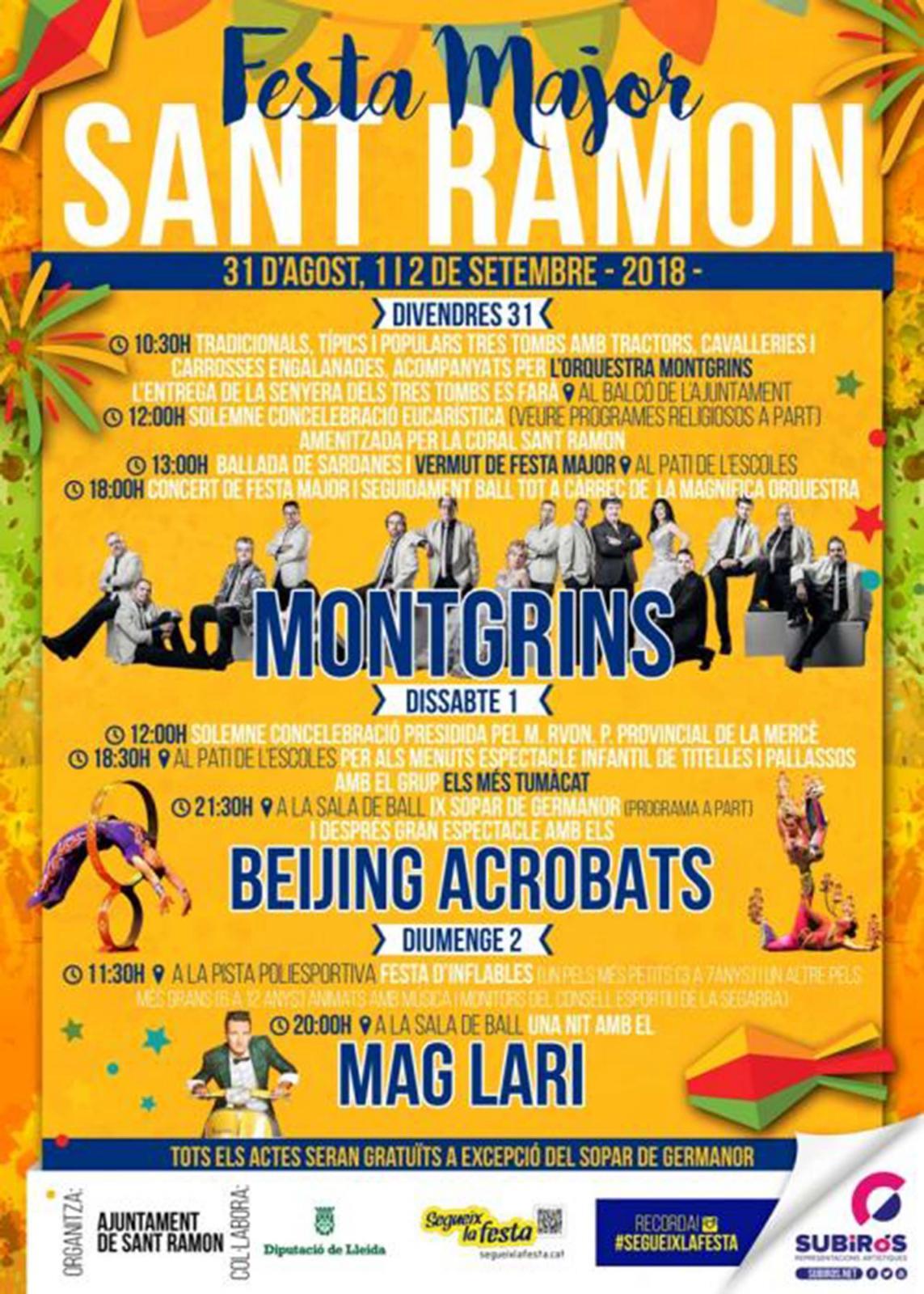 cartell Festa Major de Sant Ramon 2018