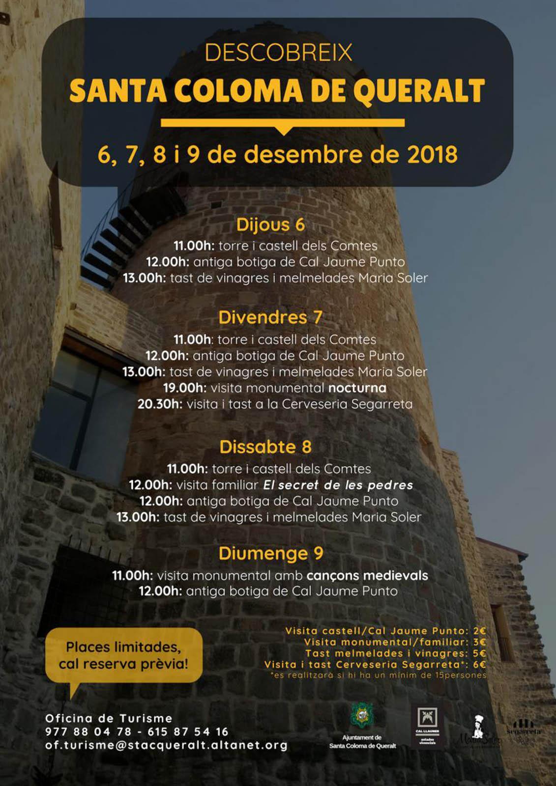 Visites guiades del 6 al 9 de desembre a Santa Coloma de Queralt