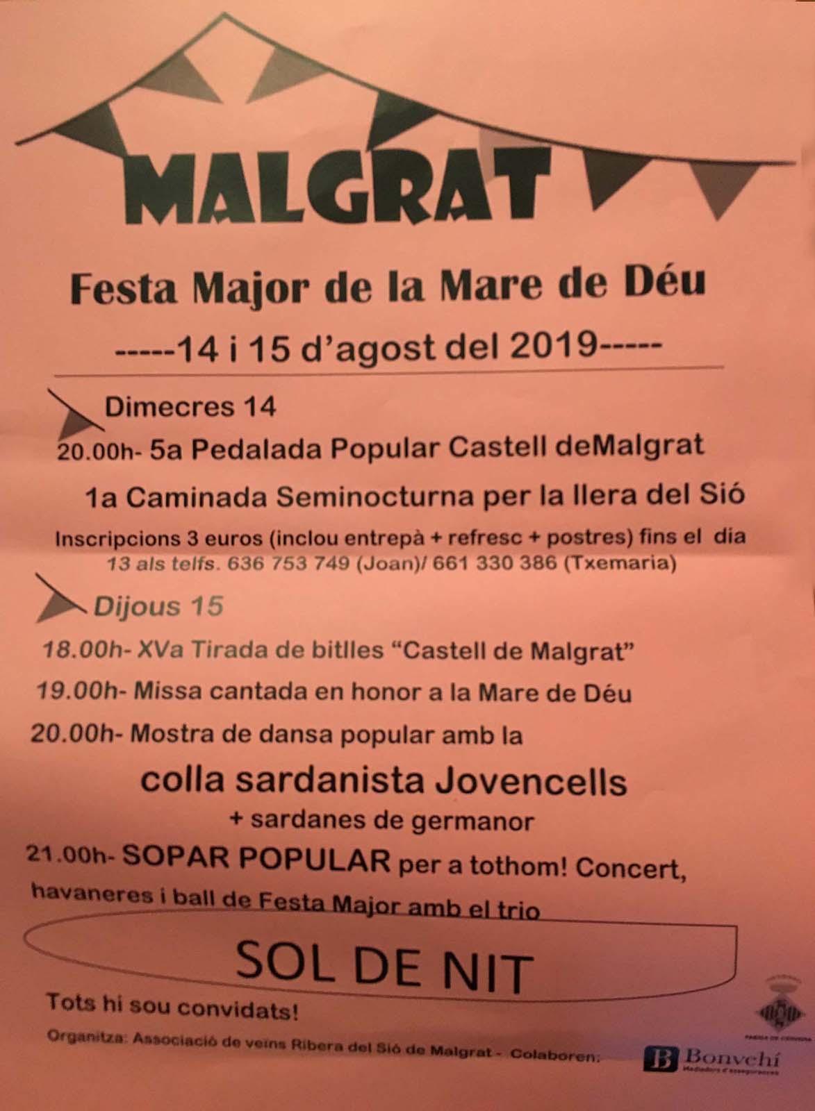 cartell Festa major de Malgrat 2019