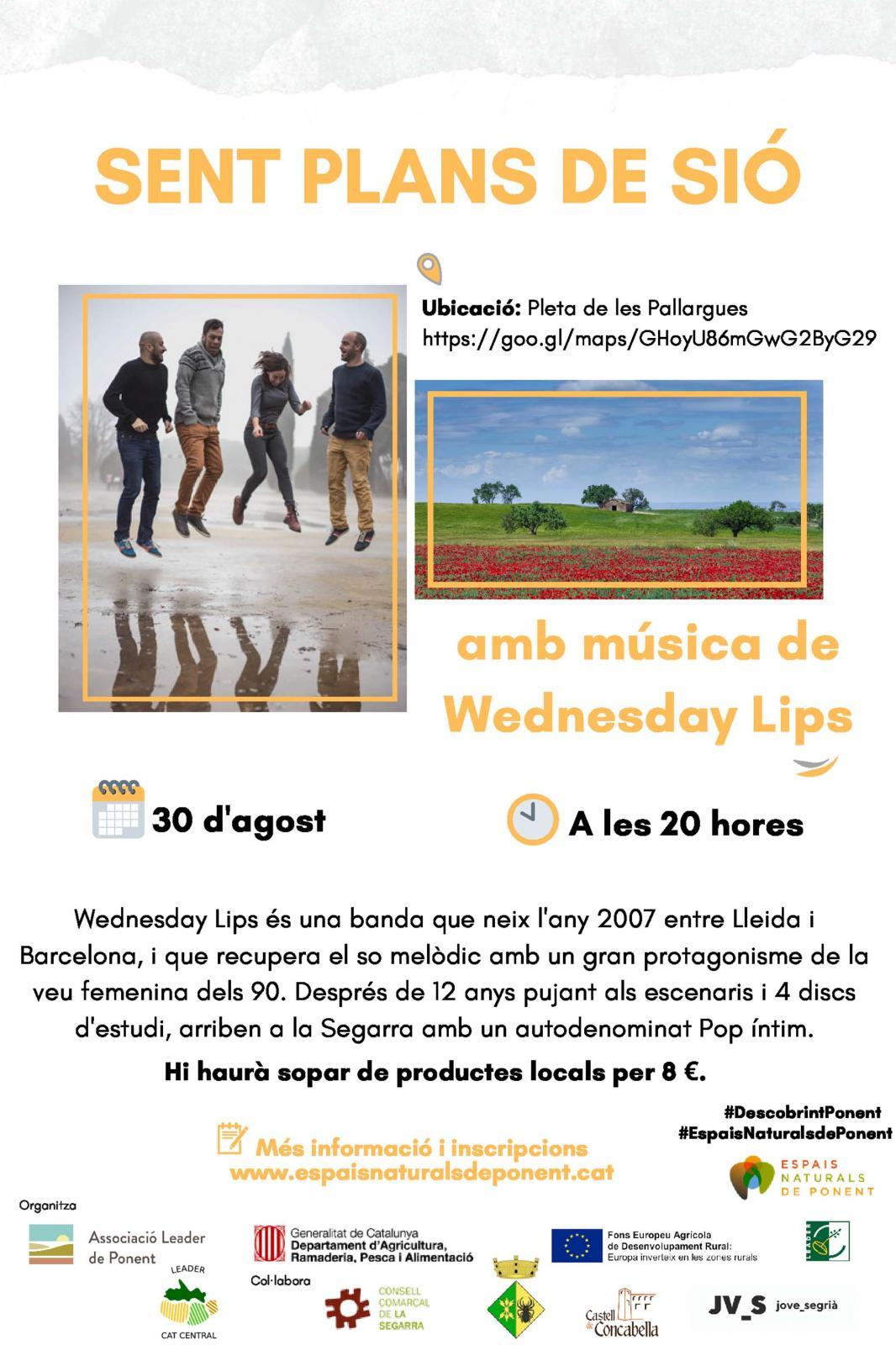 cartell Sent Plans de Sió 'Concert Wednesday Lips i sopar'