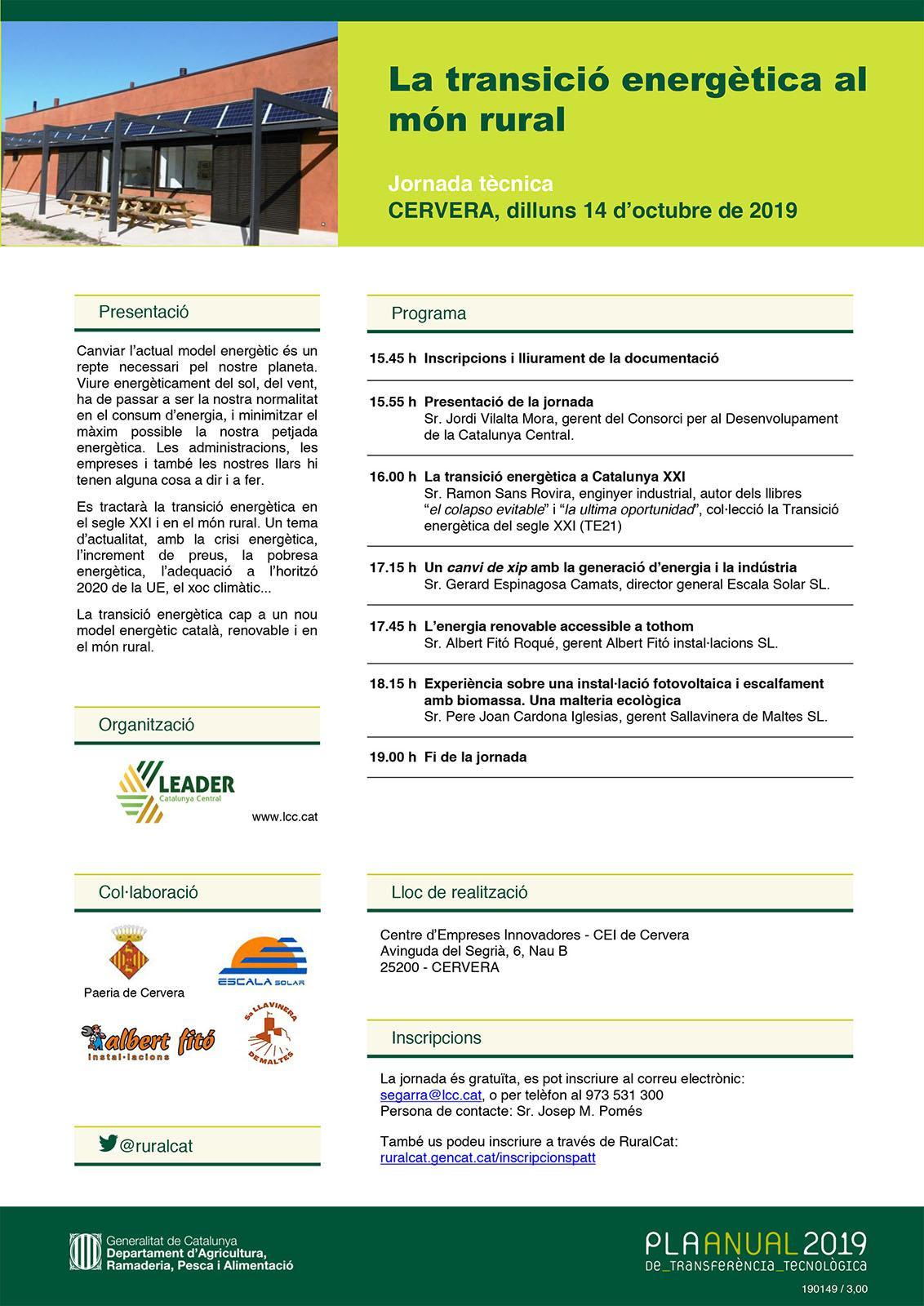 Jornada Tècnica 'La Transició energètica al món rural'