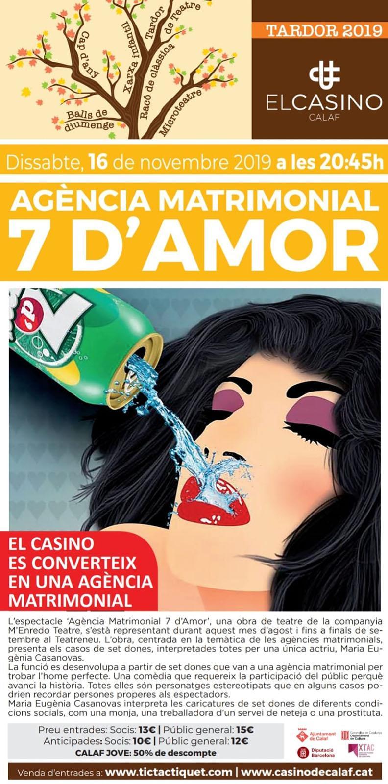 cartell Teatre 'Agència matrimonial 7 d'amor'