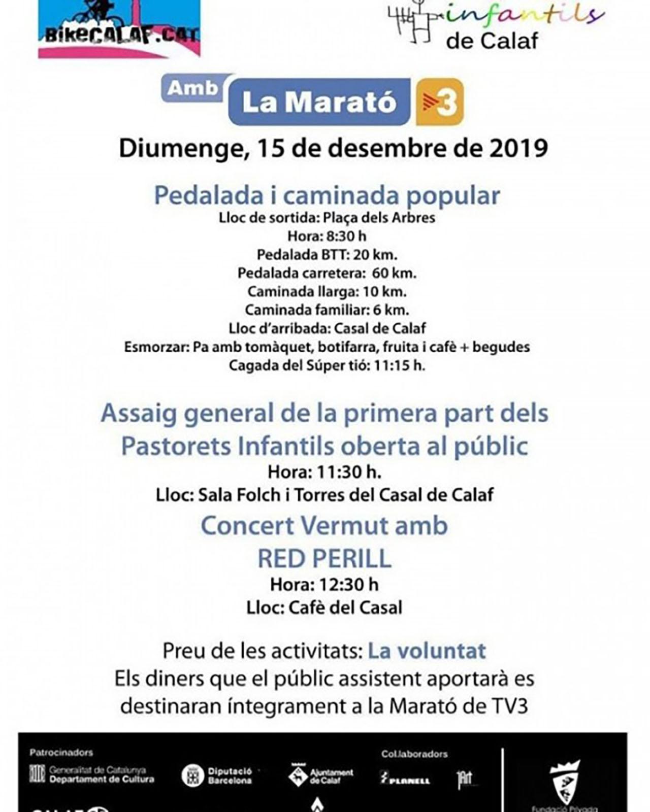 cartell Actes de la Marató de TV3 a Calaf