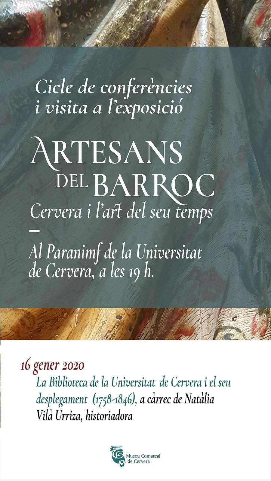cartell Conferència 'La Biblioteca de la Universitat de Cervera i el seu desplegament (1758-1846)''