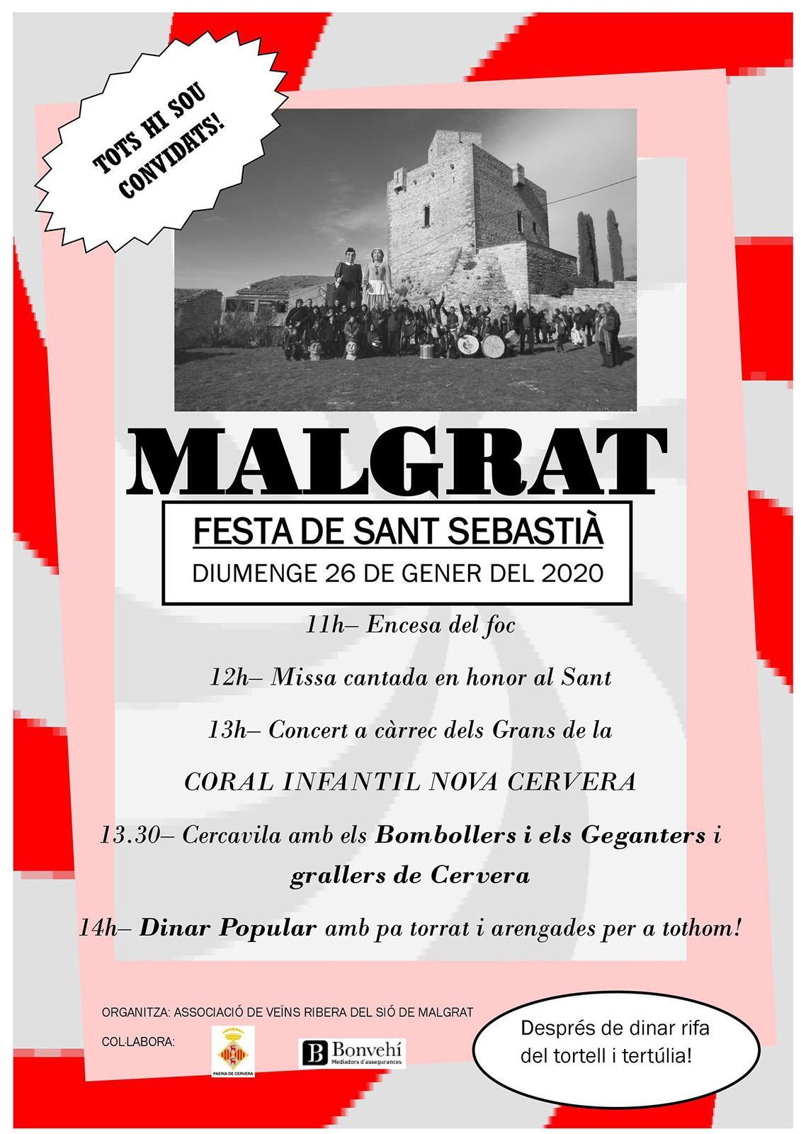 cartell Festa de Sant Sebastià 2020 a Malgrat