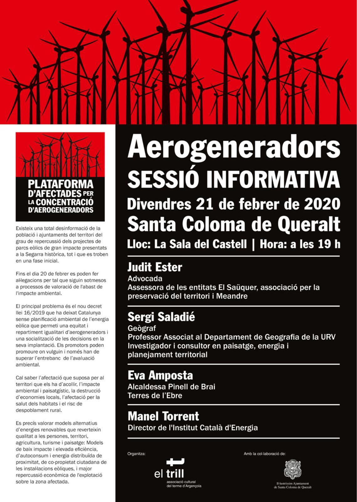 cartell Sessió informativa 'Aerogeneradors'