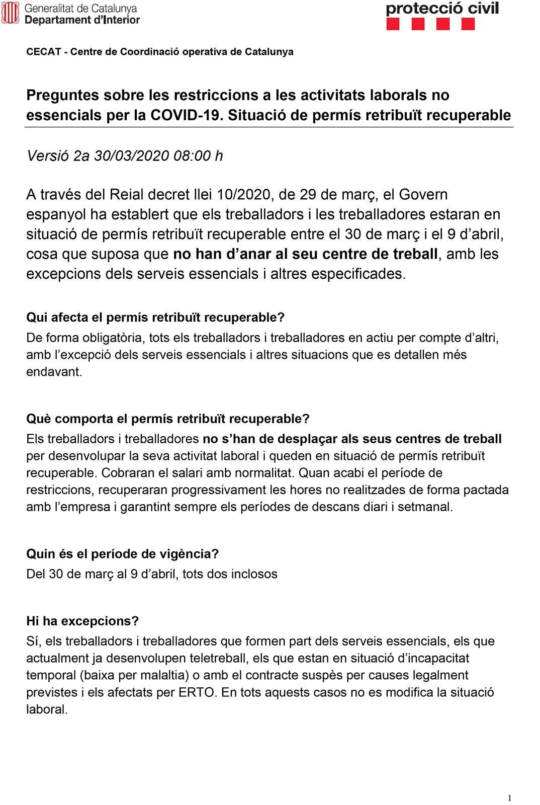 Preguntes sobre les restriccions a les activitats laborals no essencials per la COVID-19. Situació de permís retribuït recuperable