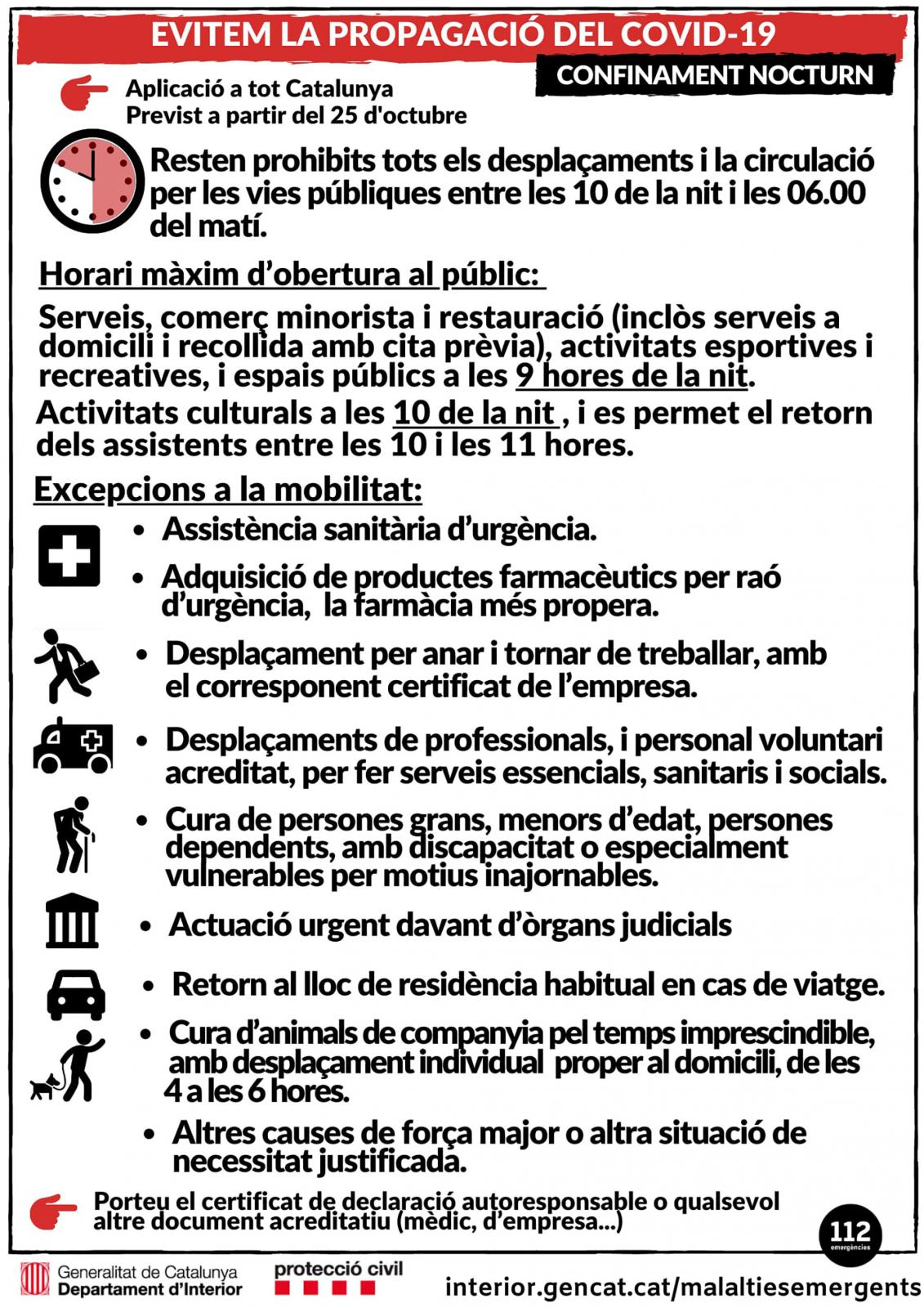 Restriccions a la mobilitat nocturna per la Covid-19