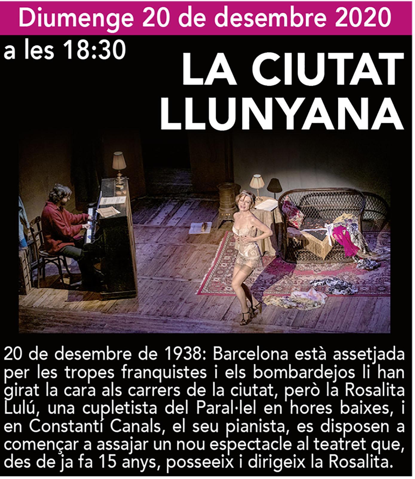 cartell Tardor de Teatre 2020 'La ciutat llunyana'