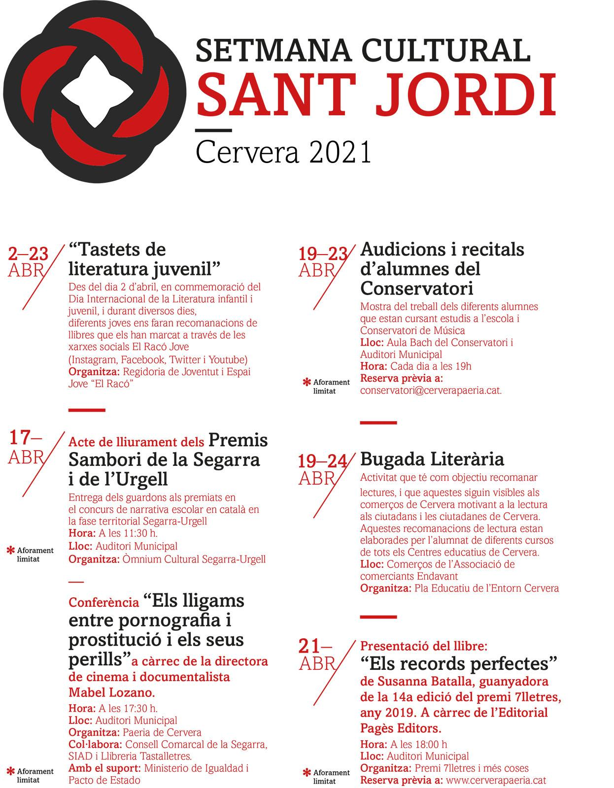 cartell Setmana cultural Sant Jordi 2021