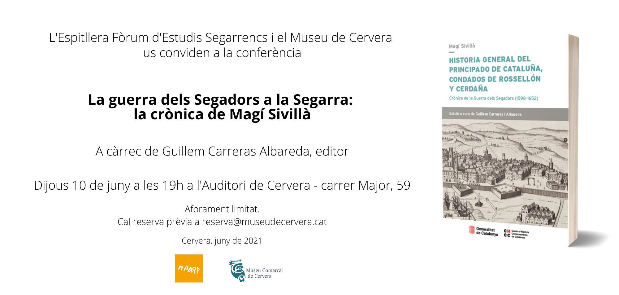 cartell Conferència  'La guerra dels Segadors a la Segarra: la crònica de Magí Sivillà'