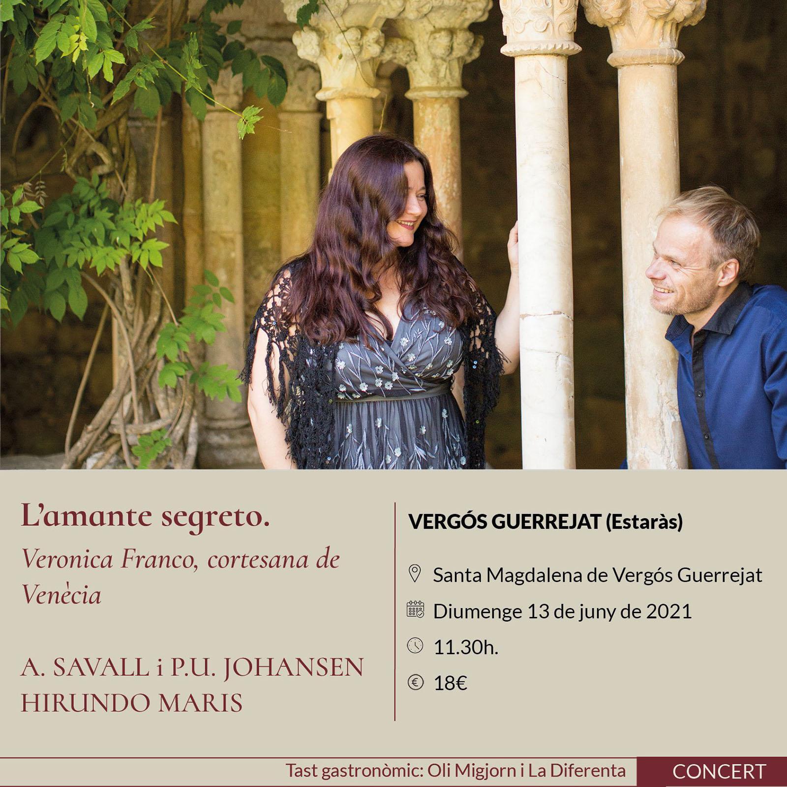 cartell Espurnes barroques concert 'L'amante segreto' a Vallferosa