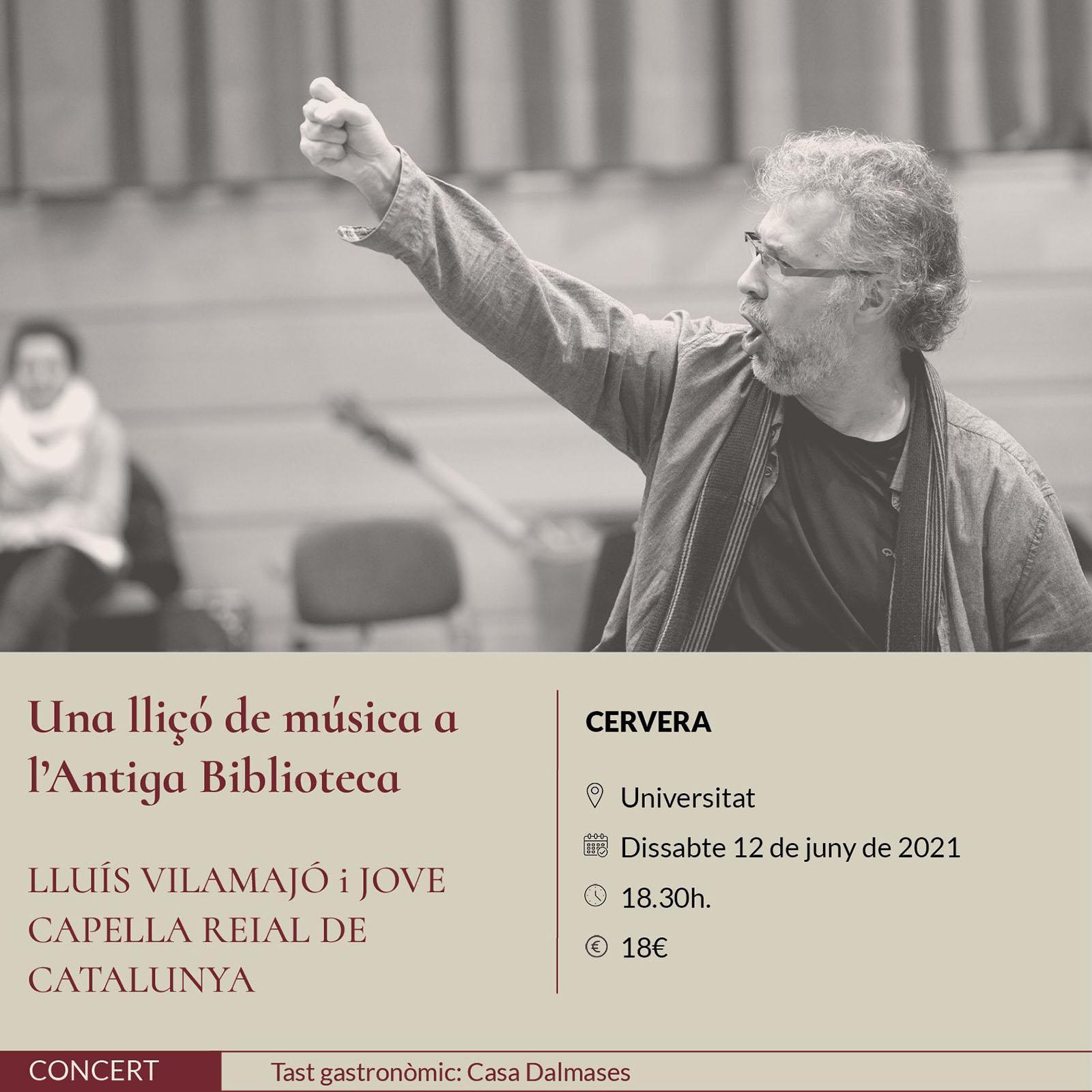 cartell Espurnes barroques concert 'Una lliçó de música a l'Antiga Biblioteca' a Cervera