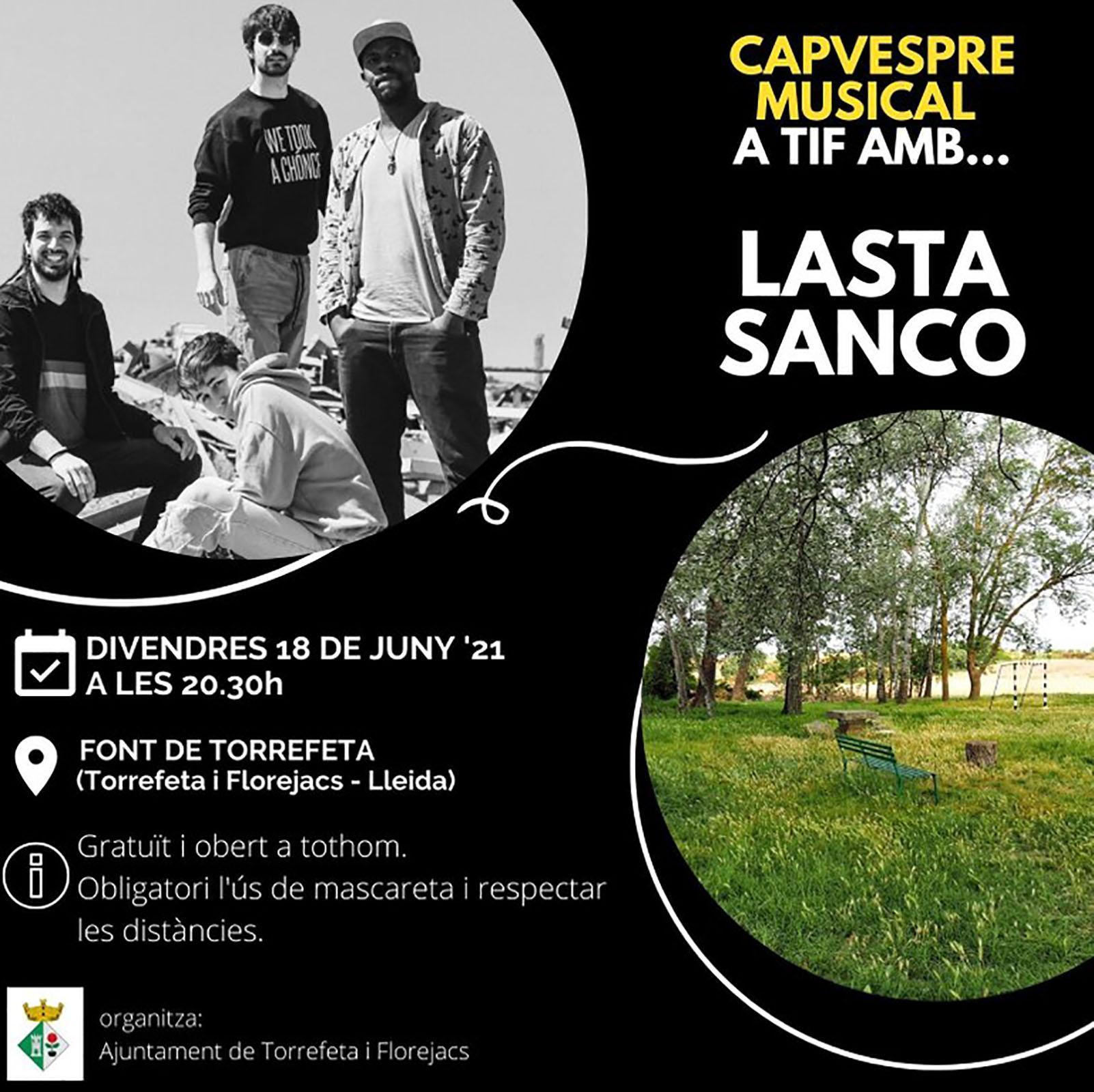 cartell Capvespre musical amb Lasta Sanco