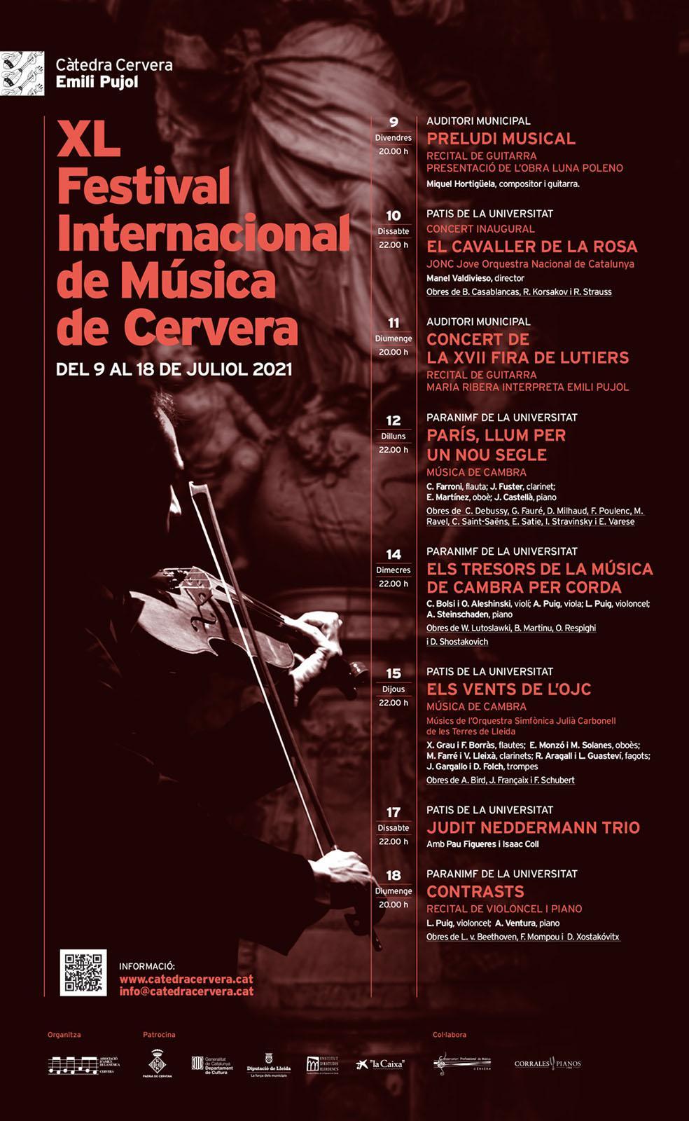cartell XL Festival Internacional de Música de Cervera