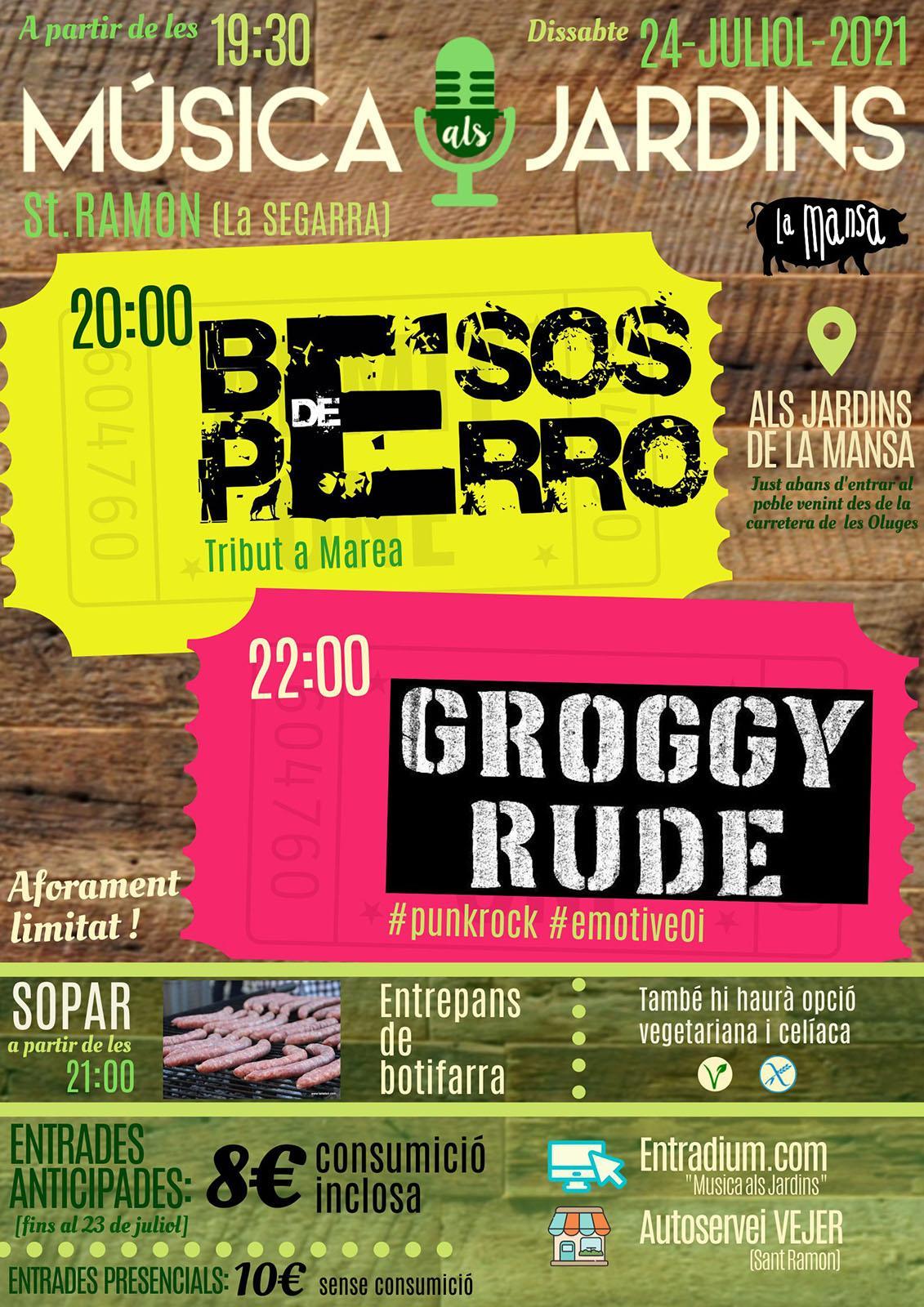 cartell Música als Jardins 'Groggy Rude i Marea de Besos de Perro'