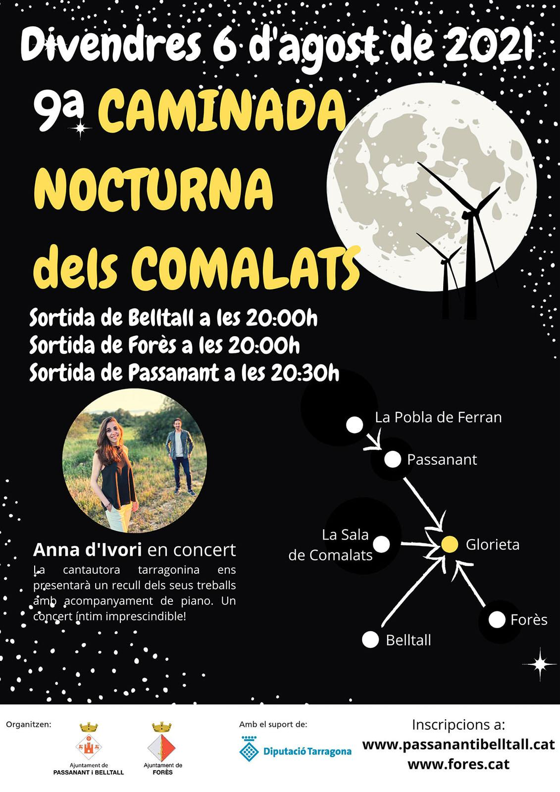 cartell 9a Caminada Nocturna dels Comalats
