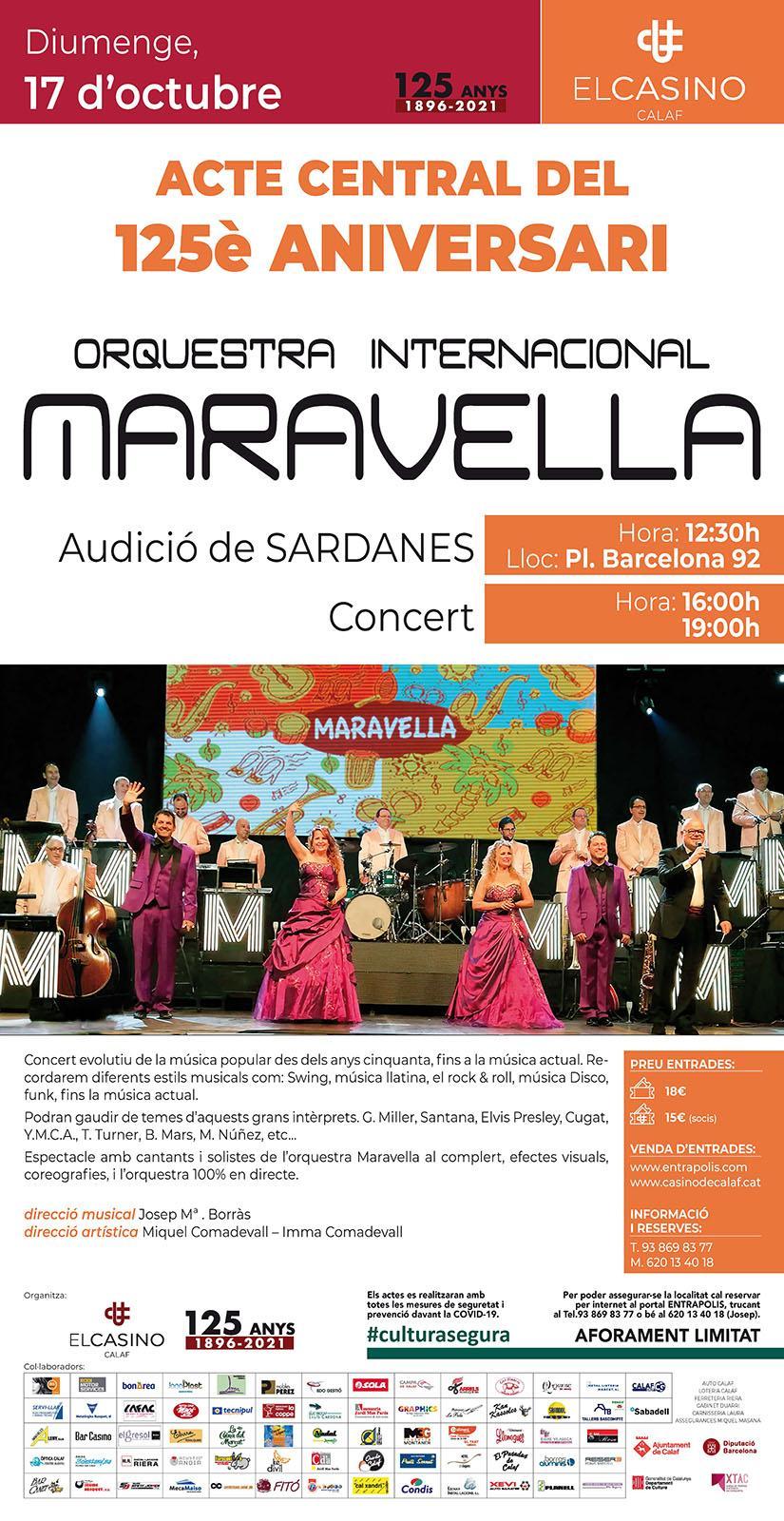 cartell El Casino celebra els 125 anys amb l'Orquestra Maravella